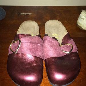Preloved maroon colored original Birkenstock clogs
